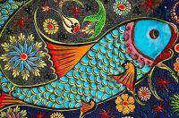 koi fish ceramic tile art