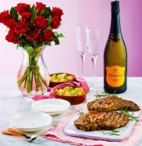 Aldi's matured sirloin steak with butter, red roses, and white wine