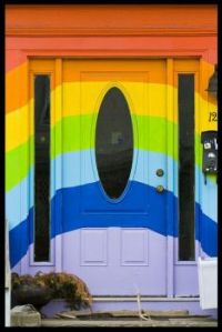 Rainbow colours front door