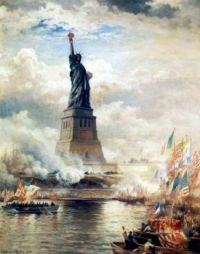 Edward Moran--Statue of Liberty unveiled, 1886