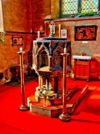 HDR of font in St Swithins Church, Lincoln - 4th Sep 2004