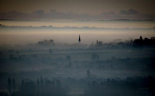 Mist around Glastonbury Tor