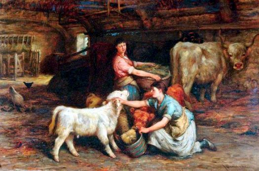 Feeding the Calves by Joseph Donovan Adam (1841-96)