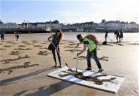"""""""The Fallen Project"""" , Beach Stencils- International Peace Day: 21st September-closeup"""