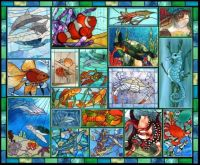 Stained glass sea creatures