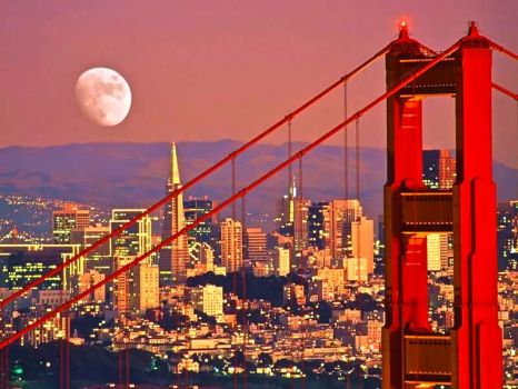 SAN FRANCISCO - GOLDEN GATE BRIDGE & MOON