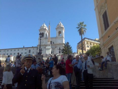 Spanish steps is touristy but you can tell many people there are Italians!