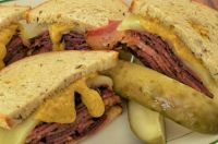 Pastrami on Rye Sandwich with Pickles