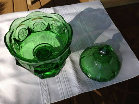 Fostoria Emerald Green Coin Glass Wedding Dish