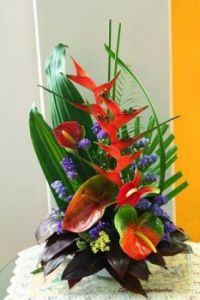 Happiness is....Heliconia and Anthuriums Arrangement.
