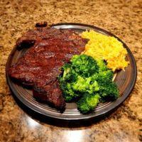 Grilled Ribeye, fresh broccoli and cheesy rice
