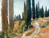 John Singer Sargent—A Winding Road and Cypress Trees, San Vigilio