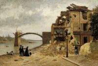 "Adolf von Becker, ""The Bridge at Asnières after the Siege of Paris in 1871"""