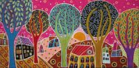 Houses Trees Whimsical Landscape (231)