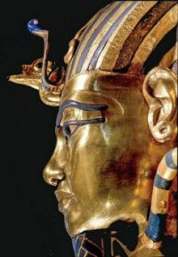 Solid gold coffin of pharaoh Tutankhamun (reigned 1332-1323 BC).