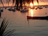 sunset over poole harbour dorset uk