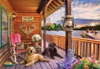 Dogs Resting at Seaside Cabin