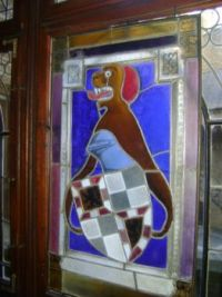 Stained glass dog knight?