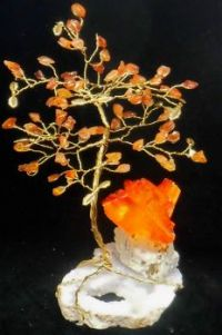 Carnelian gemtree on a Quartz crystal base, with Arcanite crystal