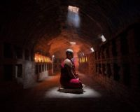 MASTER MONK FINDS PEACE IN AN ANCIENT MEDITATING CHAMBER - MYANMAR