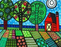 Landscape Painting folk art by Heather Galler .