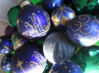 Christmas ornaments-purple and green