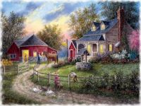 farms-playful-cat-mp-children-rabbits-kitty-farmhouse-painting-farm-scenery-art-artwork-barn-horse-landscape-photos