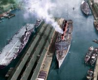 AQUITANIA, HMS IMPLACABLE & HMS KING GEORGE V in Sydney, post-war 1945