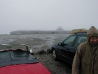 Norway MGB at North Cape in the rain.