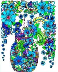 Blue Coloring Flower Vase