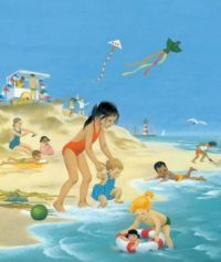 Themes Vintage illustrations/pictures - Children playing at the Beach