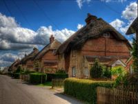A Row Of Thatched Houses. East Stratton. Winchester.