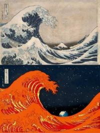 Top: The Great wave.   Bottom:  The Earth as seen from the Sun.