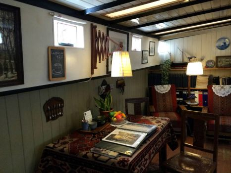 Inside the houseboat