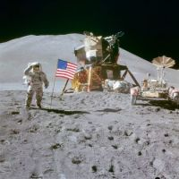 Apollo 15 Astronaut James B. Irwin saluting the flag, next to the lunar module, August 2, 1971.