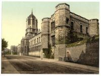 Christchurch College, Oxford university, UK.  Circa 1880. Hand tinted photograph.