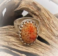 Ring with Petrified Palm gem