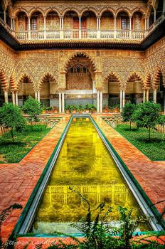 Courtyard in the Alcazar of Seville, Spain