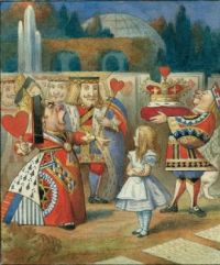 Alice with King and Queen of Hearts