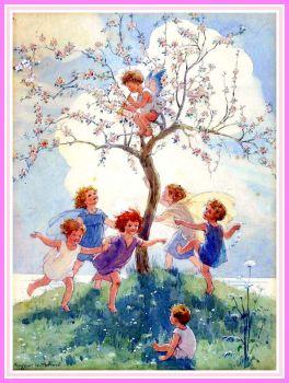 Springtime, Children as Apple Blossom Fairies