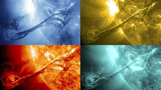 NASA picture of sun in various wavelengths of light