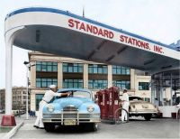 At the Standard Station - 1948 Packard and Hudson.