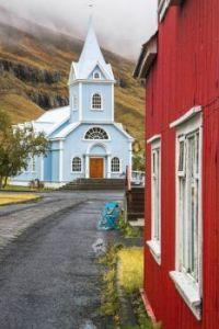 Blue Church in Seyðisfjörður, Iceland....