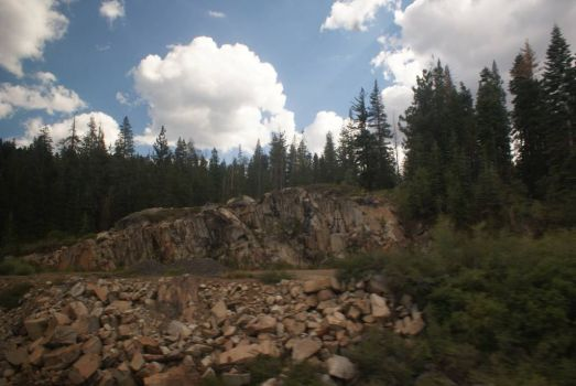 View from the train. ~ Sierra Nevada Mtns.