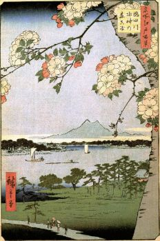 by Hiroshige -   Suijin Shrine and Massaki on the Sumida River