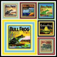 Vintage Fruit Labels Depicting Frogs