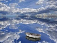 sky, sky reflected, boat