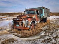 Old truck in winter