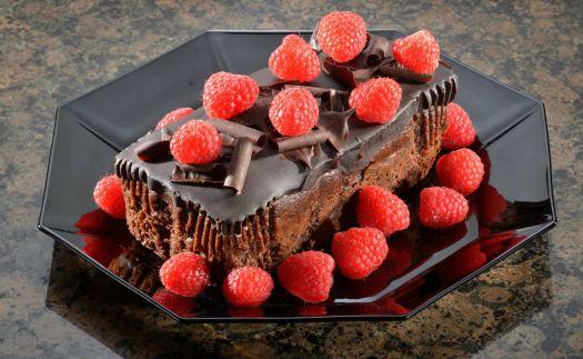 Rich Chocolate Fudge Cake with Raspberries