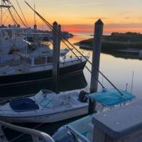Rock Harbor fishing fleet at sunset